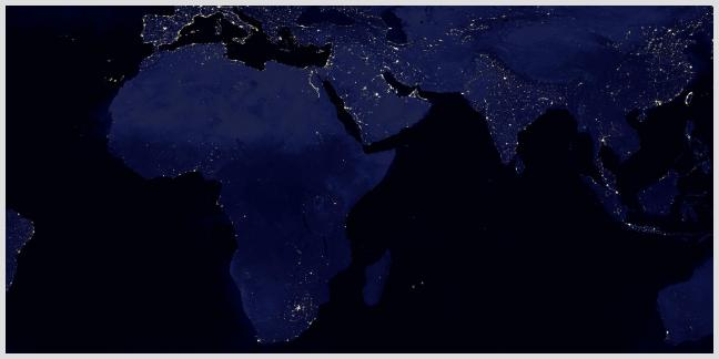 The view of Africa from space.  China is lighting up the continent -- in some places