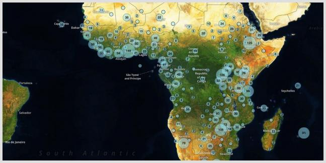China in Africa Satellite Map