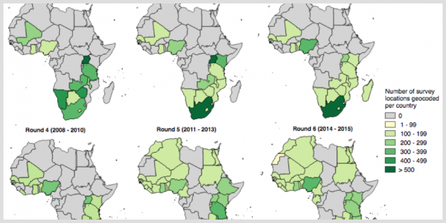 Afrobarometer subnational data available by round and country