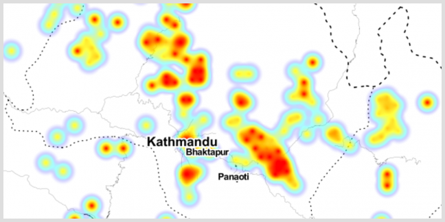 A heat map showing concentrations of aid in Nepal