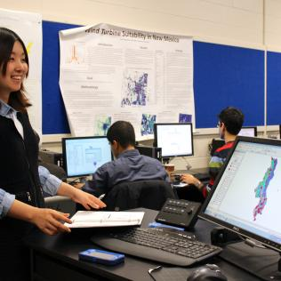 AidData Geospatial Assistant Qiao Li leads an Intro to ArcGIS training session during the first AidData Research Consortium (ARC) convening in January 2014. Photo by AidData, all rights reserved.
