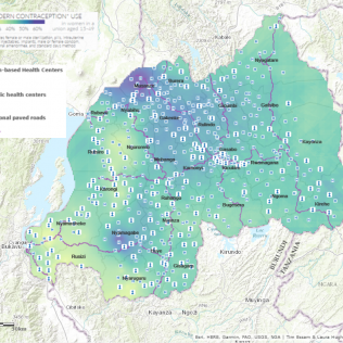 This visualization of Rwanda, constructed by AidData Fellow Joshua Okafor, illustrates the location of public and faith-based health centers and their proximity to paved roads, overlaid by a heatmap of contraceptive use.