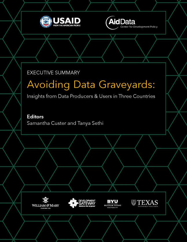 Cover art for 2017 report, Avoiding Data Graveyards:  Insights from data producers and users in three countries?