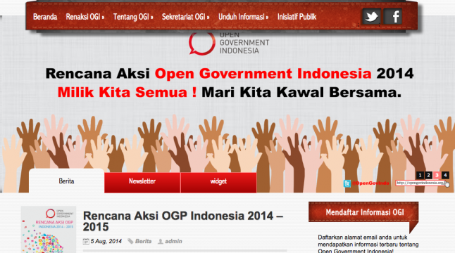 The recently launched beta version of opengovindonesia.org.