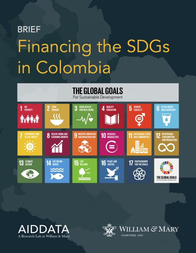 Cover art for the booklet, Financing the SDGs in Colombia