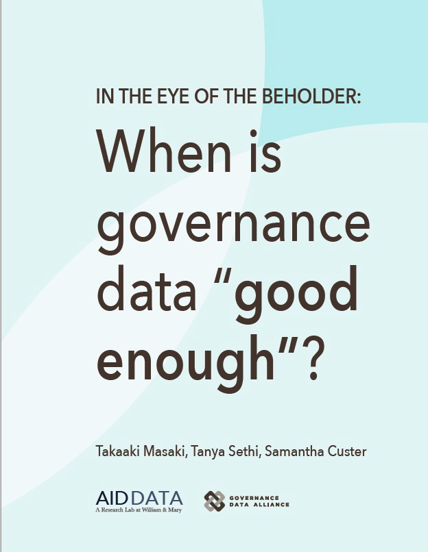 Cover art for 2016 GDA report, Eye of the Beholder:  When is governance data good enough?