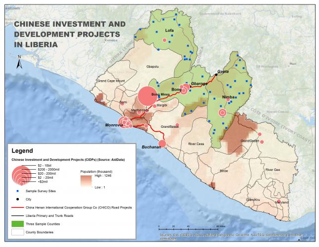Select Chinese investment and development projects (CIDPs) in Liberia and proposed survey sites in Bong, Lofa and Nimba Counties