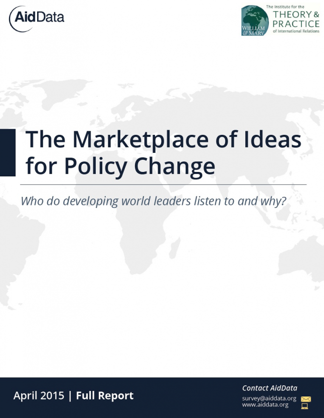 Cover art for 2016 GDA report, Markeplace of Ideas for Policy Change