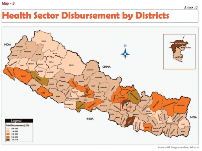Map of health sector development assistance by district from the Government of Nepal Ministry of Finance's FY2014/2015 Development Cooperation Report