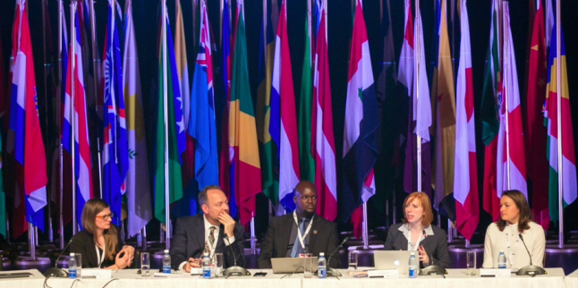 """Samantha Custer, Director of Policy Analysis for AidData, moderates a panel discussion on 'The """"Missing Millions"""" and Data Collaboratives' in Cape Town, South Africa during the 2017 World Data Forum."""
