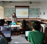 AidData Summer Fellow Amy Leung gives a training on OpenStreetMap at ANSA-EAP. Photo by AidData, all rights reserved.