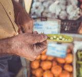 A man stands holding an opened green pea pod among cartons of vegetables at a farmer's market