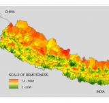 On this map of the scale of remoteness in Nepal, a score of 7.5 indicates areas that are the most remote, and a score of 2 indicates areas that are the least remote.