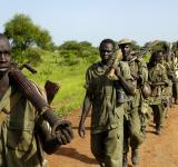 Soldiers of the Sudanese People's Liberation Army (SPLA) being redeployed in 2008 to form a new battalion with the Sudan Armed Forces (SAF) in Manyang, Sudan