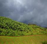 A storm gathers over farmland in the hills near Lake Mutanda, Uganda. Uganda's farmers are under threat from increasing extreme weather events. Photo by Adam Cohn, licensed under CC BY-NC-ND 2.0.